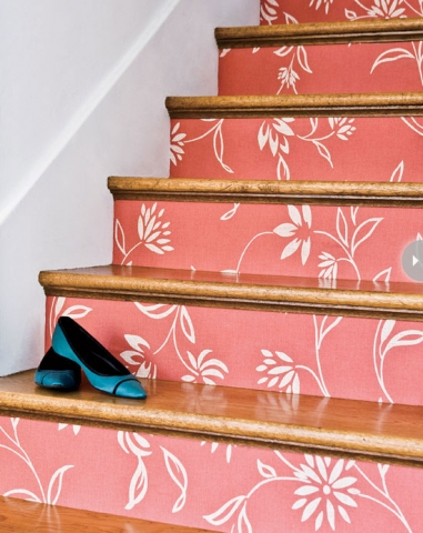 Wallpapered Stair Rises